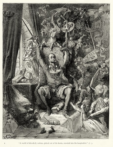 """Archivo:Gustave Doré - Miguel de Cervantes - Don Quixote - Part 1 - Chapter 1 - Plate 1 """"A world of disorderly notions, picked out of his books, crowded into his imagination"""".jpg"""