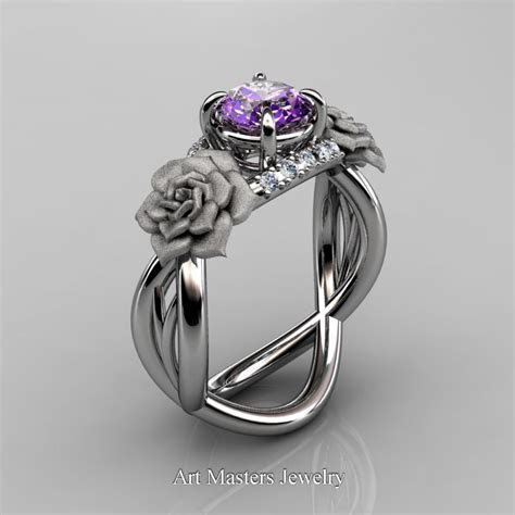 Nature Inspired 14K White Gold 1.0 Ct Amethyst Diamond