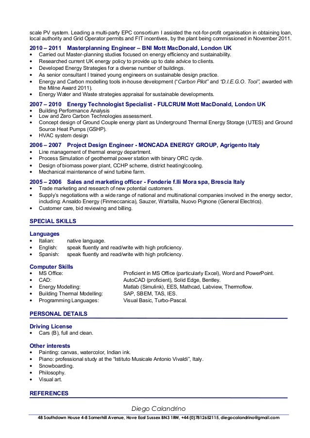 cv of diego calandrino renewable energy consultant senior project manager 2 638