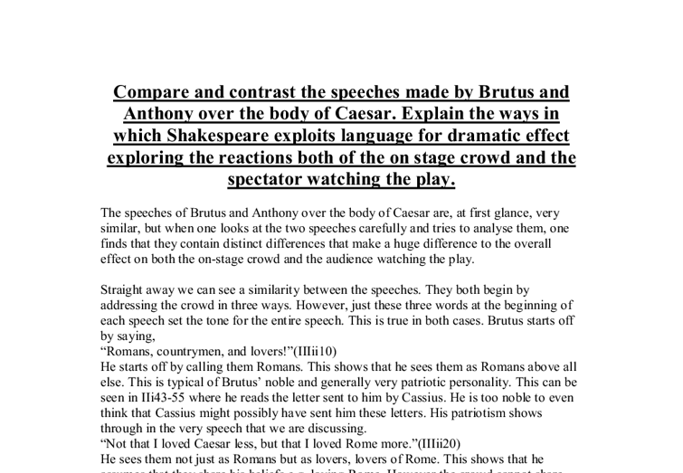 writing compare and contrast essay the tragedy of julius caesar