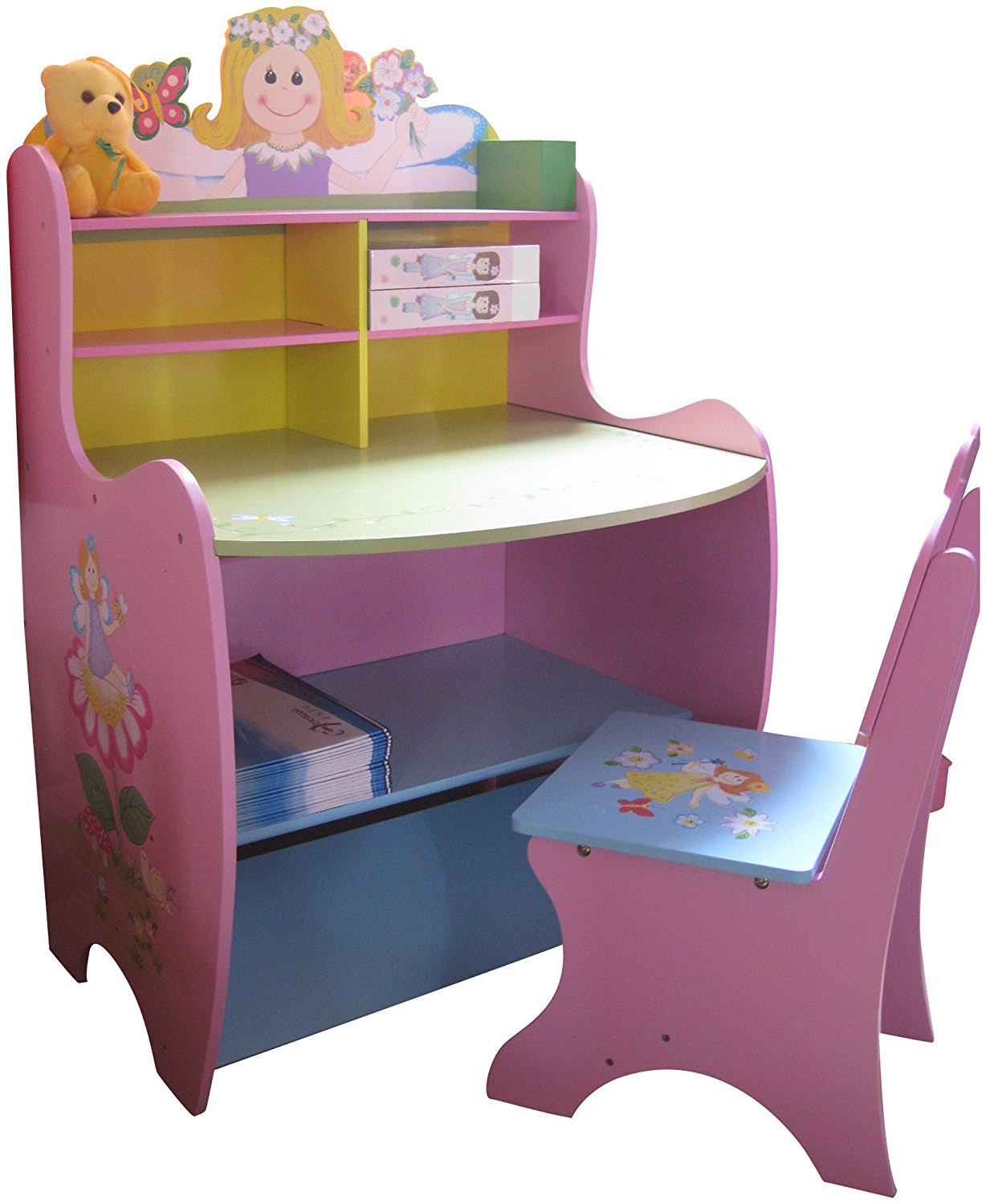 Childrens Desk Chair Wooden Writing Storage Fairy Bedroom ...