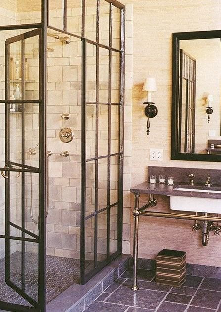 old windows as shower stall. like.