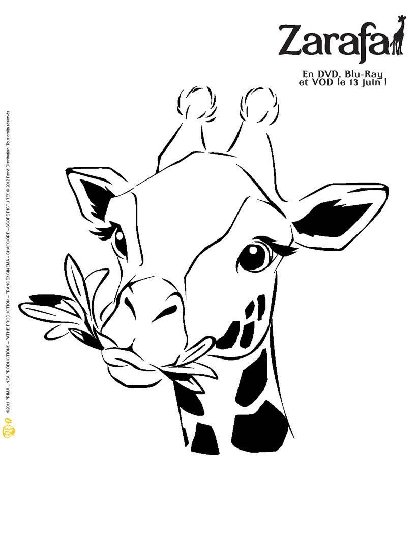 Girafe buvant un cocktail Coloriage ZARAFA  imprimer