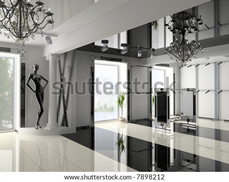 The Modern Shop Interior Design Project(3d Image) Stock