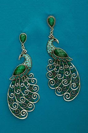 peacock earrings (wow)