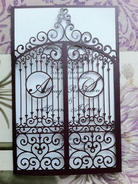 Laser Cut Wedding Invitation, Die Cut Monogram Iron Gate