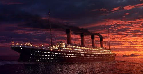 The 'Unsinkable Ship' sails off into its final sunset in the Oscar-winning film TITANIC.