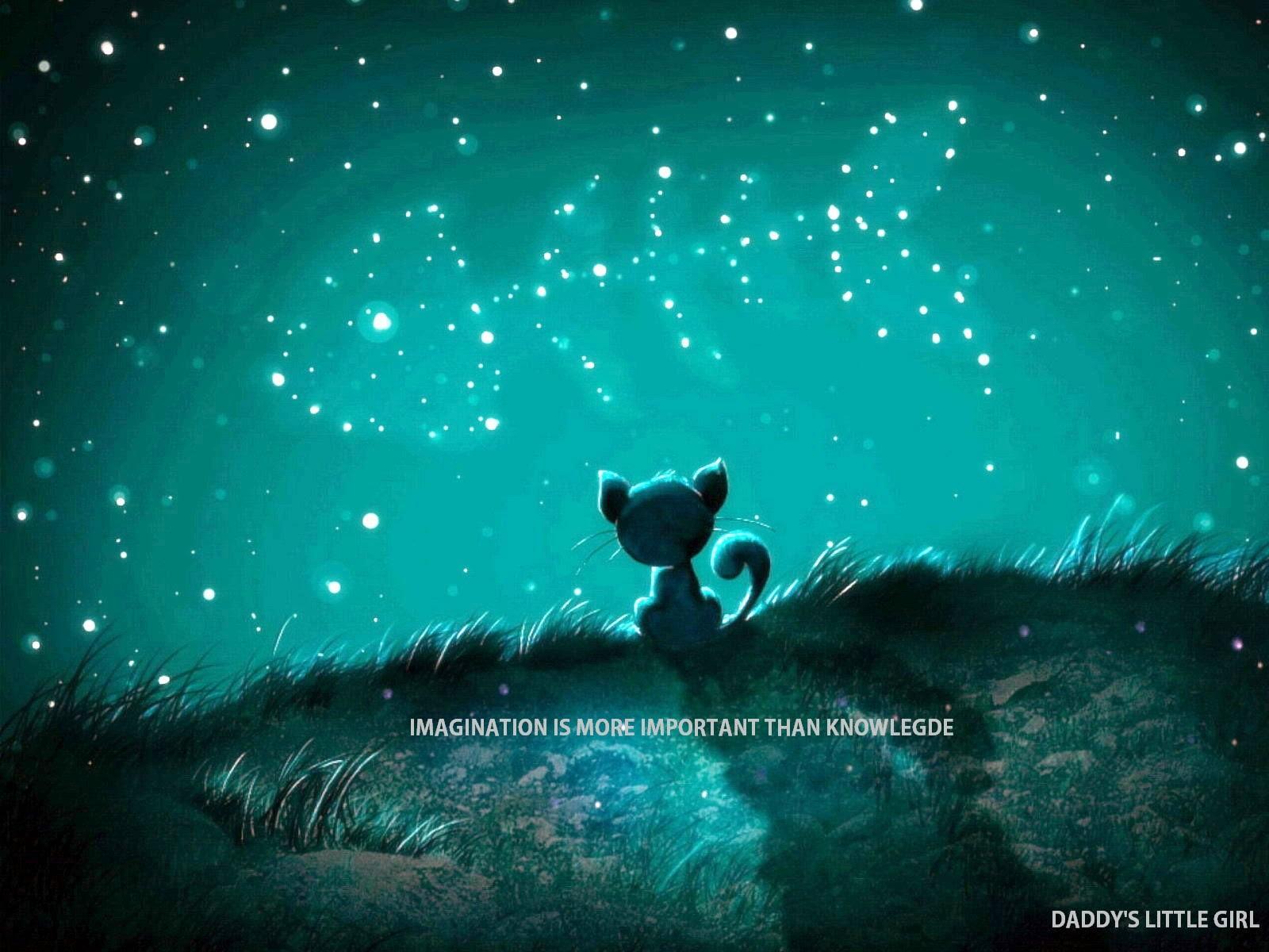 ILUSTRAÇÃO: gato de gostas num penhasco, observando as estrelas, que formam uma espinha de peixe