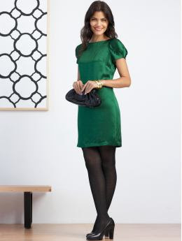 Petites: Petite silk puff-sleeve dress - Tartan green
