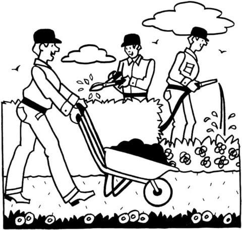 Dibujo De Jardineros Trabajando Para Colorear Dibujos Para