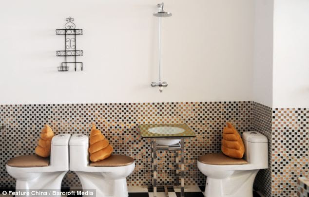 WC decor: The walls are decorated to look like the inside of a bathroom