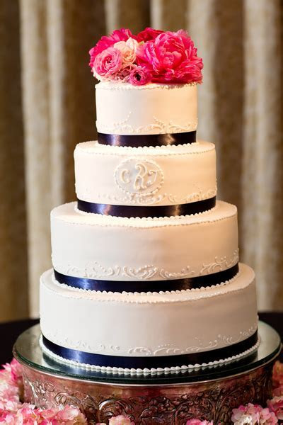 southern wedding pink and navy cake