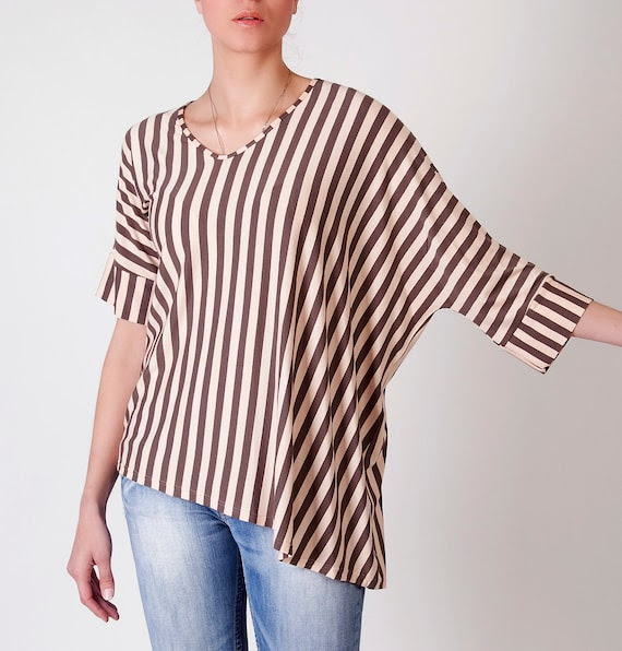 Striped blouse shirt sweater with oversized draped side in pastel pink cream & brown -ready to ship-