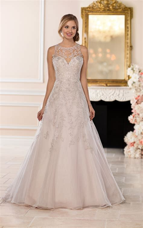 Wedding Dresses   A Line Halter Wedding Dress with Silver