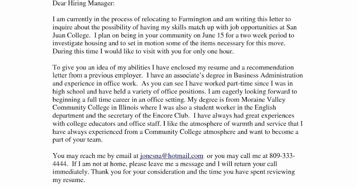 Cover Letter Examples To Unknown Recipient - 200+ Cover ...