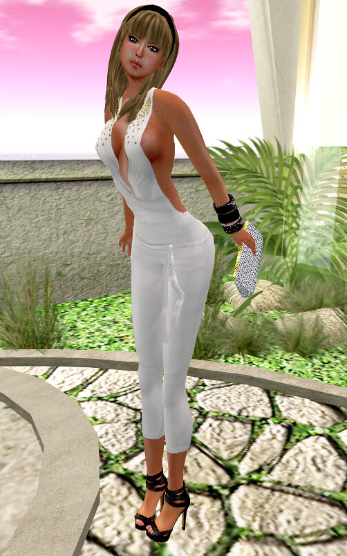 ::HH:: Hucci Gold Rain Jumpsuit - white & Hucci Shana Clutch -LBlue/White