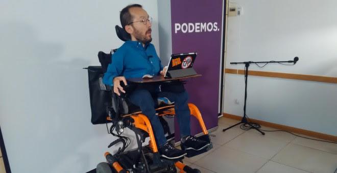 El secretario de Organización de Podemos, Pablo Echenique, esta mañana en Zaragoza.