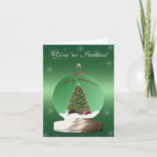 Green Snow Globe Invitation card