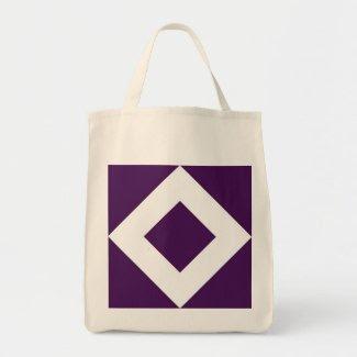 Purple and White Diamond Pattern Tote Bags