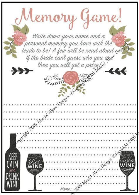Memory Game   Who Am I   Bridal Shower Game   Instant