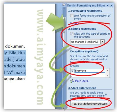 Gambar: Cara memilih tipe proteksi tulisan dokumen di Microsoft Word