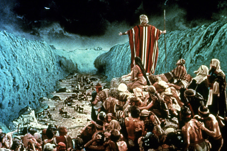 In 'The Ten Commandments,' Charlton Heston as Moses parted the sea into two huge walls of water, between which the children of Israel crossed on a temporarily dry seabed to the opposite shore.