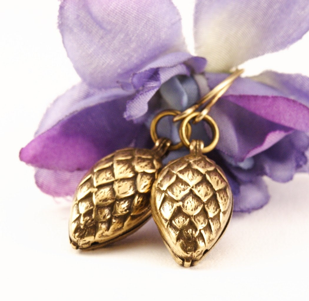 Shipping Included - Pine Cone Earrings - Antique Gold