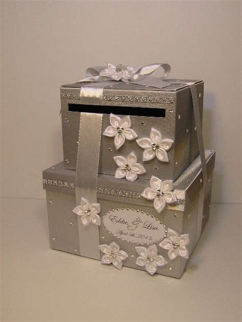 Wedding Card Box 2 tie Silver and White Gift Card Box