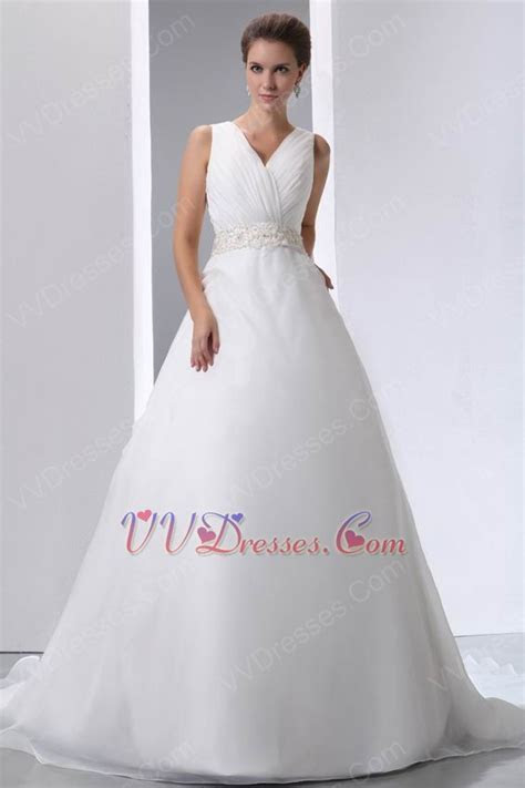 Beaded Belt V Neck Chapel Wedding Dress Make Your Own