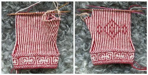 Twined mitten in progress by Asplund