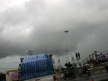 Storm clouds gather over Phuket this afternoon with more rain tipped