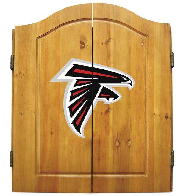 Atlanta Falcons NFL Complete Dart Board Cabinet Set w/darts  flights