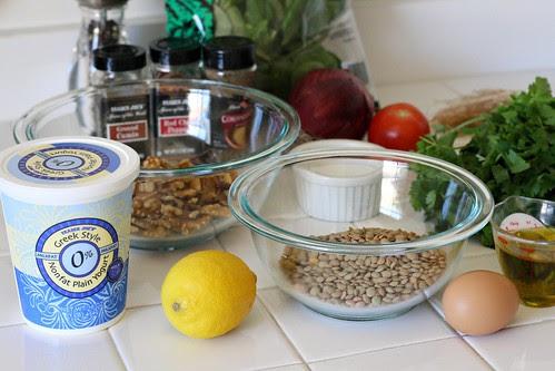 Ingredients for Lentil-Walnut Burgers