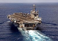 The Nimitz-class aircraft carrier USS Theodore Roosevelt (CVN 71) steams in the Atlantic Ocean. Roosevelt and embarked Carrier Air Wing (CVW) 8 are conducting a tailored ship's training availability and final evaluation problem. U.S. Navy photo by Mass Communication Specialist 2nd Class Michael D. Cole