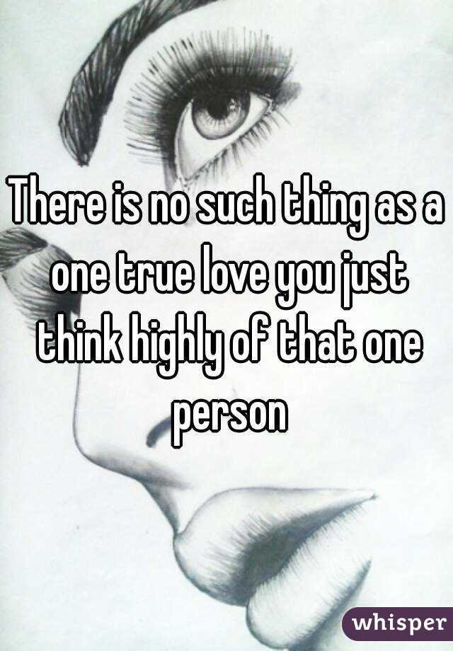 There Is No Such Thing As A One True Love You Just Think Highly Of That