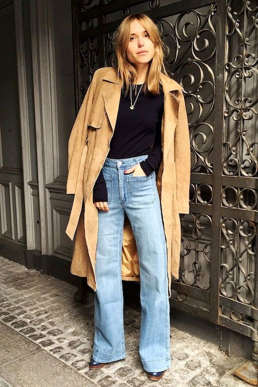 Le Fashion Blog Blogger Pernille Teisbaek Suede Trench Coat High Waisted Wide Leg Flare Jeans Denim Fall Style Via Vogue