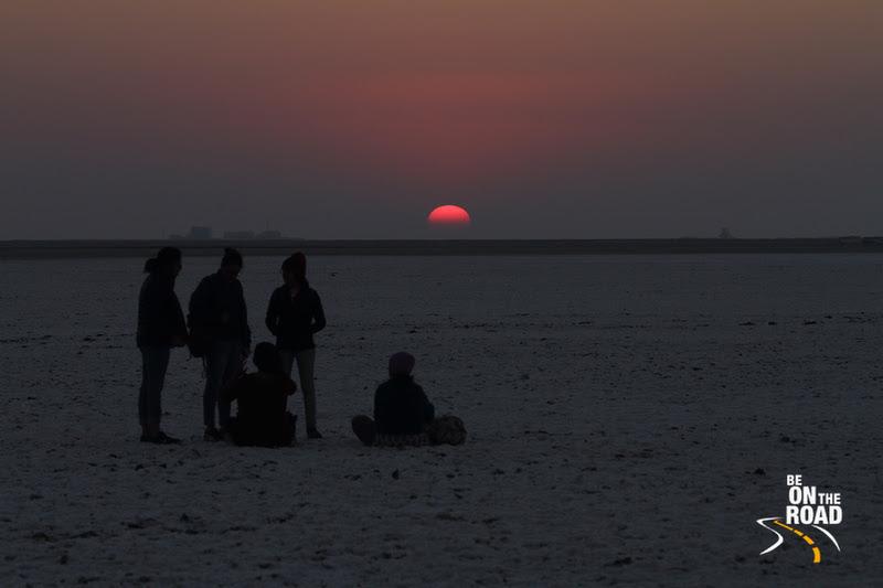 The setting sun at the salt desert of White Rann, Greater Rann of Kutch, Gujarat, India
