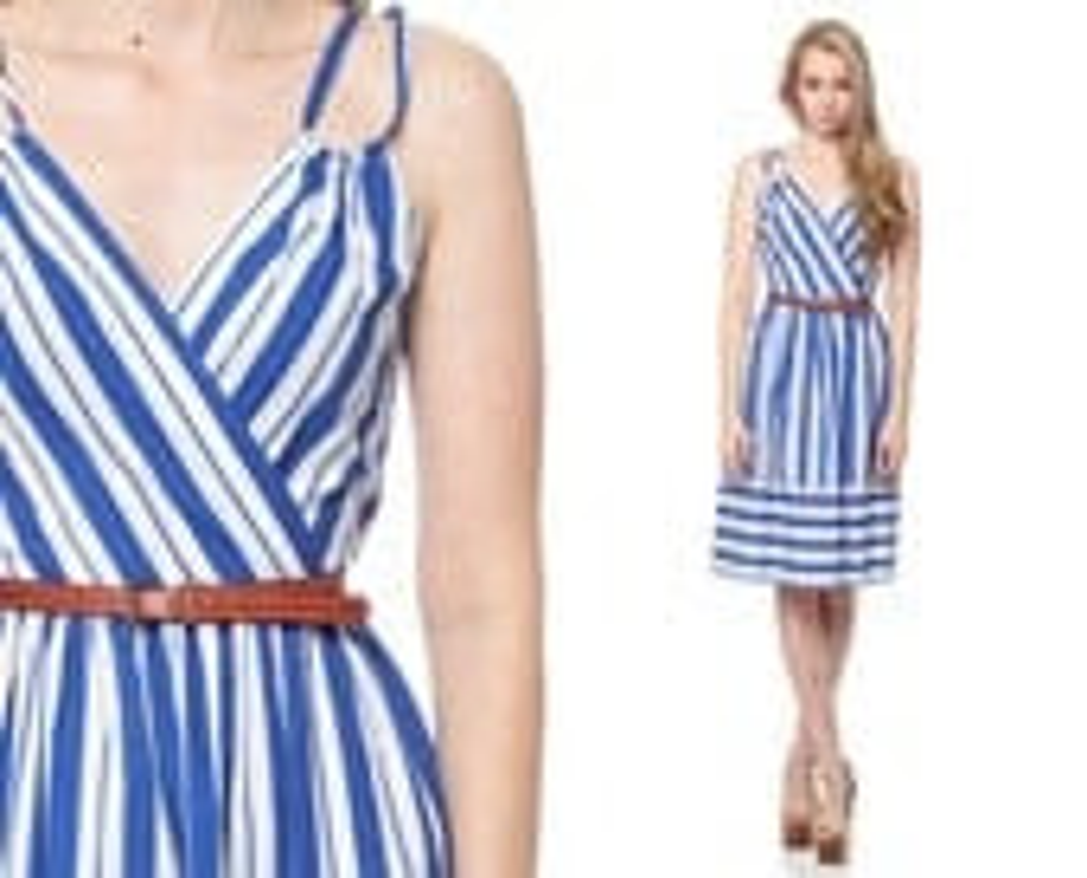 70s Sun Dress Striped NAUTICAL Blue White Midi Wrap 1970s Summer Deep V Neck Spaghetti Strap High Waist Vintage Sailor Stripe Sundress Small - ShopExile
