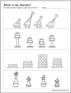 measurement worksheets tallest and shortest 6a