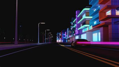 wallpaper street night car render urban building