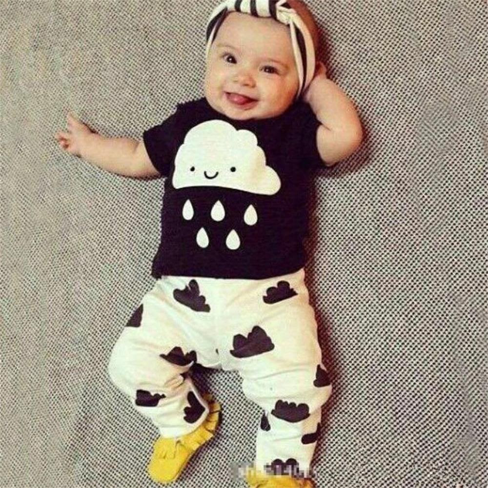 Hot Sale Baby Girl Boy Clothes New 2016 Spring Newborn Babys Sets T shirts+Pants 2pcs/lot