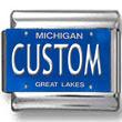 Michigan License Plate Custom Charm
