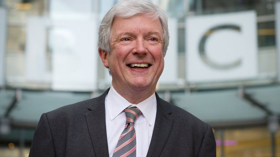 BBC director general, Tony Hall, stands outside the BBC