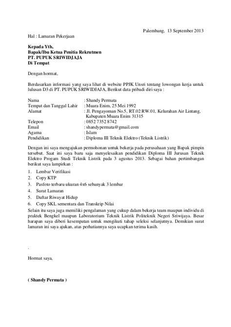 Contoh Surat Lamaran Kerja Umum 2016 - Wall PPX