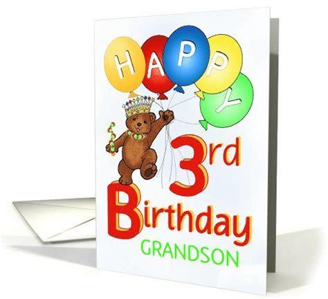 Happy 3rd Birthday Royal Teddy Bear for Grandson card
