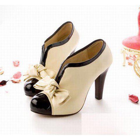 Sexy Lady Beige Bow Pump Platform Women High Heel Shoes