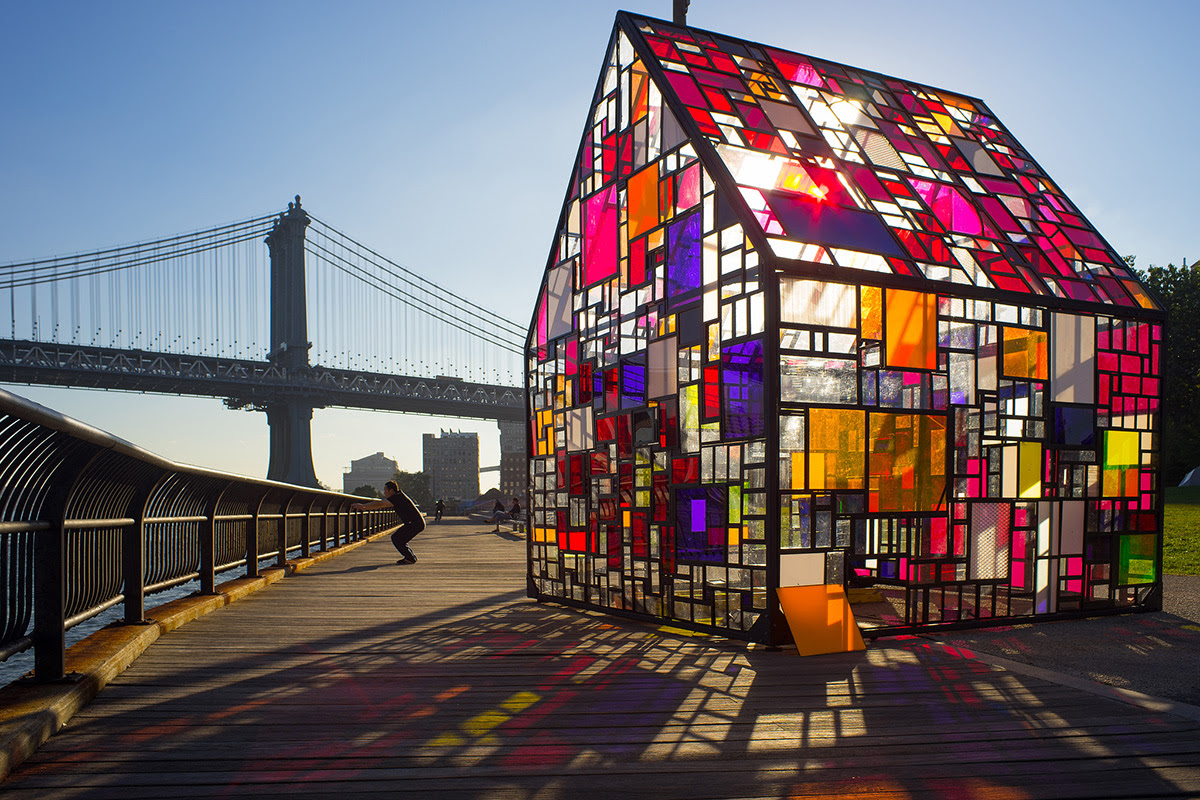 Tom Fruins Stained Glass House Installed at Brooklyn Bridge Park stained glass sculpture New York glass