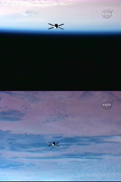 JULES VERNE orbits more than a thousand feet away from the International Space Station after coming within 36 feet of the orbiting complex on March 31, 2008.
