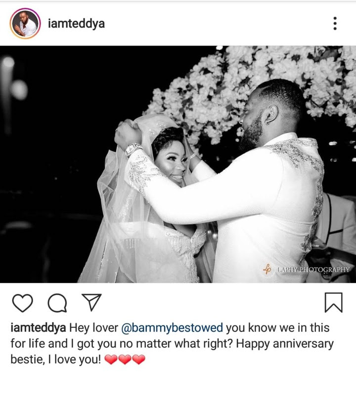 BBNaija couple, Teddy A and Bam Bam celebrate their 1st wedding anniversary