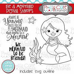 Be a Mermaid Digital Stamps
